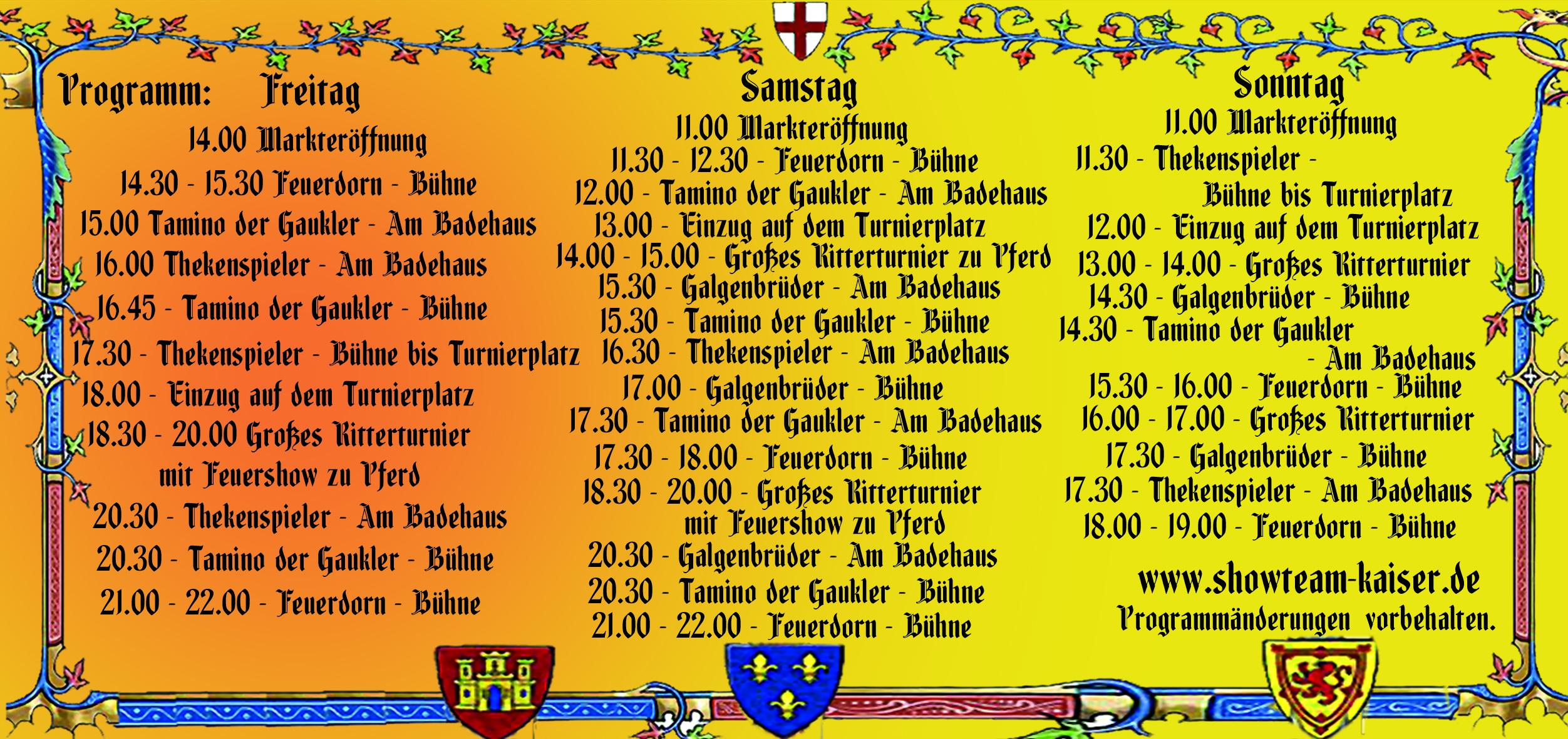Programm Düsseldorf - Eller Mittelaltermarkt